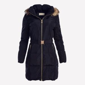 Michael Kors Belted Jacket With Fur Collar